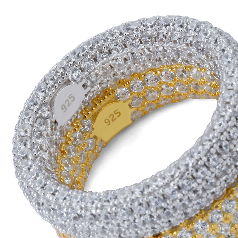 S925 argent Micro-clouté Zircon anneau glacé Hip Hop bague en argent Sterling bijoux bague de mode pour hommes et femmes anneaux zircone