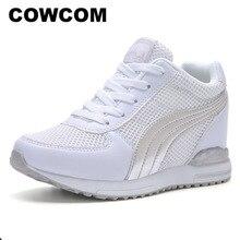 COWCOM yüksek topuklu ayakkabı kadın platformu ayakkabı kalın alt yükseltmek moda bayan ayakkabıları rahat ayakkabılar sonbahar yeni silindir