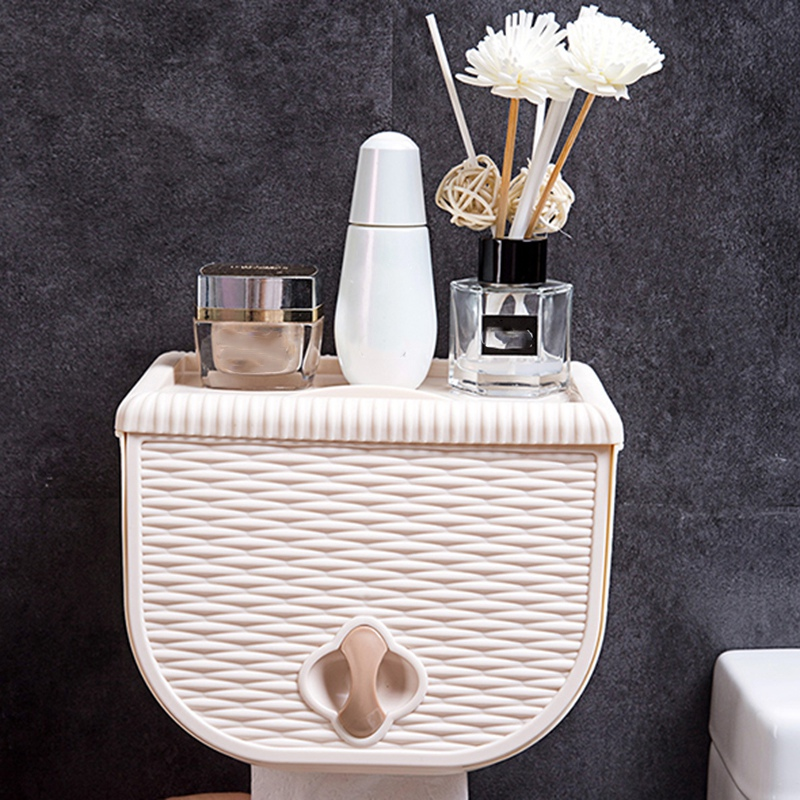 Woven Pattern Toilet Tissue Box Bathroom Toilet Tray Free Punch Waterproof Paper Towel Rack