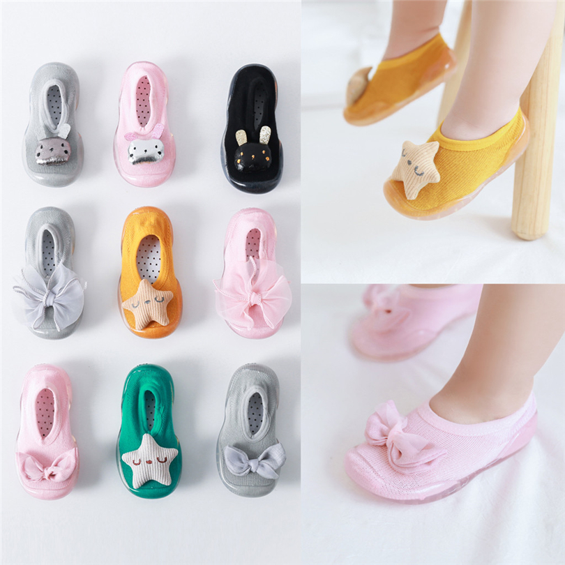 Spring Baby Girls Boys Shoes Socks Star Bow Cartoon Rabbit Anti-Slip Toddler Shoes Fashion Kids Soft Sole Rubber Shoe 1-6T A20