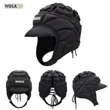 WOSAWE Football Soccer Goalkeeper Helmet Sports Rugby Cap Head Guard Goalie Roller Hat Fiber Head Protector Ski Surfing Helmet цены онлайн