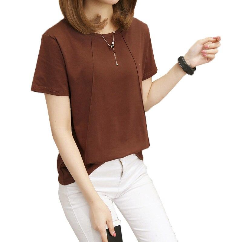 Новинка 2020, женские футболки, повседневные однотонные футболки, летняя женская футболка с коротким рукавом, свободная 5XL футболка для женщи...