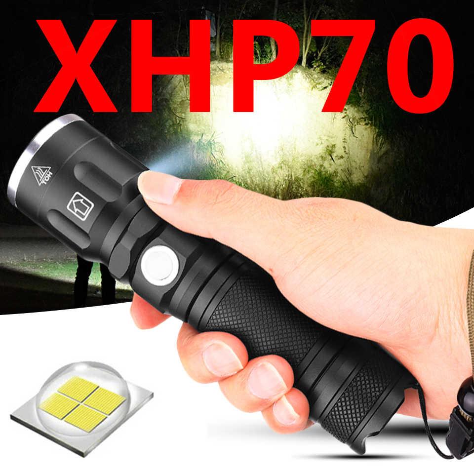 A tocha da luz do flash conduziu a lanterna 1*18650 ou 26650 bateria recarregável xhp70 resistente ao choque, as lâmpadas duras da defesa zumbem dentro