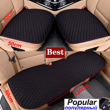 Car Seat Cover Linen Fabric Four Seasons Front Rear Flax Cushion Breathable Protector Mat Pad