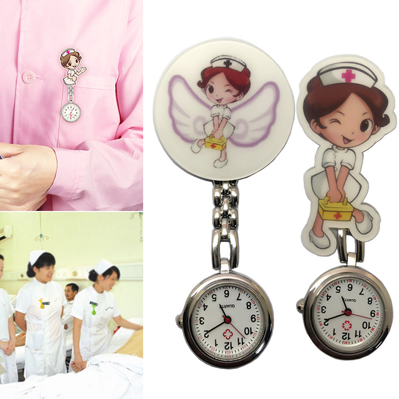 Cute Nurse Quartz Chest Pocket Watch Cartoon Portable Round Dial Doctor Gift FS99