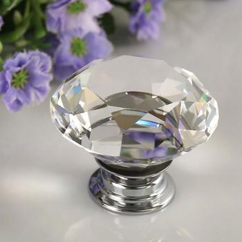 цена на 1pcs Hot 30mm Diamond Clear Crystal Glass Door Pull Drawer Cabinet Furniture Accessory Handle Knob Screw Worldwide Door Drawers