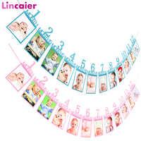 12 marco de fotos de meses Banner primeros adornos de feliz cumpleaños niños 1er bebé niño niña mi 1 año suministros de fiesta rosa azul