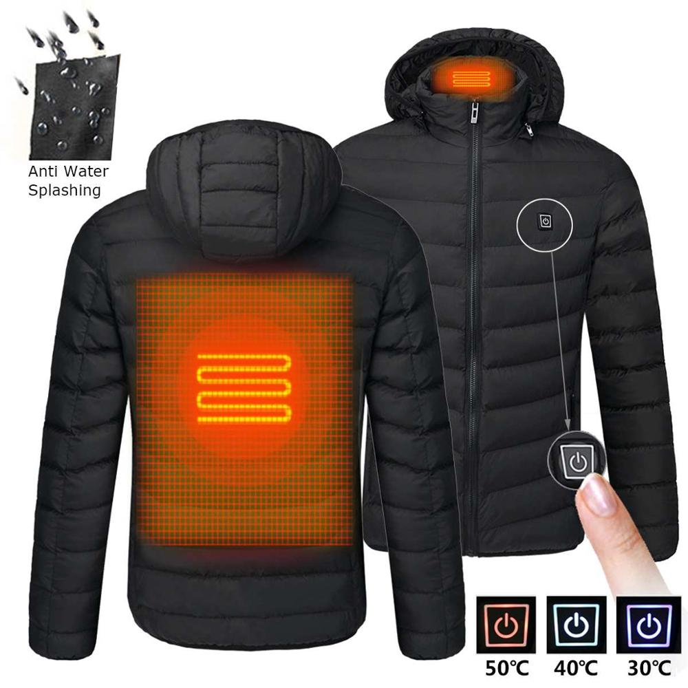 2021 Men Winter Warm USB Heating Jackets Smart Thermostat Pure Color Hooded Heated Clothing Waterproof  Warm Jackets