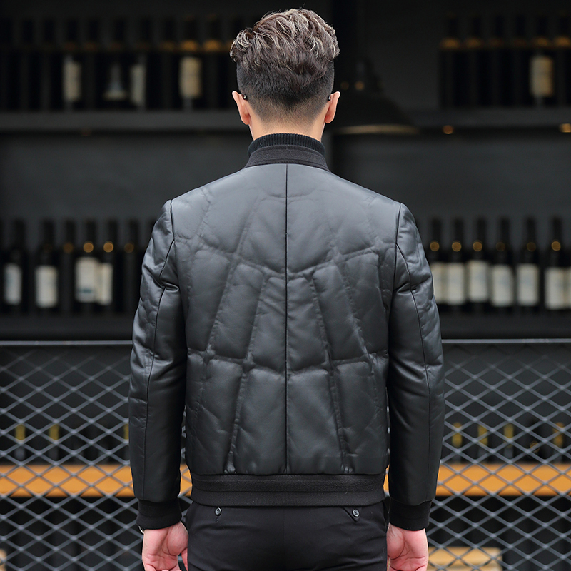 2020 Genuine Leather Jacket Men Winter Short Men's Down Jacket Sheepskin Coat Baseball Collar Chaqueta De Cuero P-Y8606B