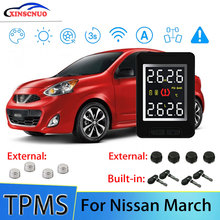 Smart Car TPMS Tire Pressure Monitor System For Nissan March with 4 sensors Wireless Alarm Systems LCD Display TPMS Monitor for nissan sylphy 2016 2019 smart auto driving assistant system car automatic rain wiper sensors