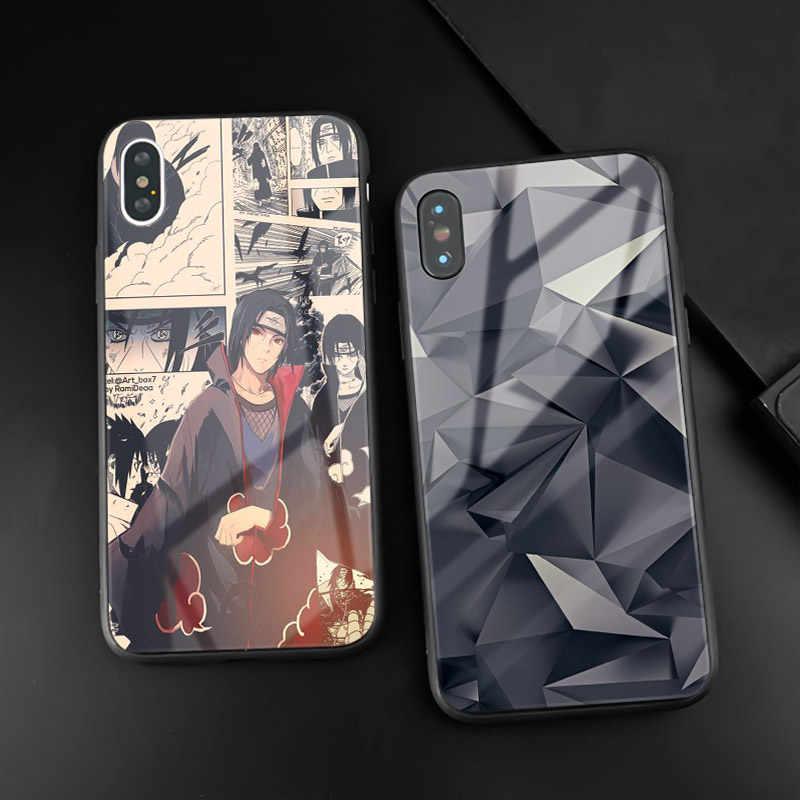 Uchiha Itachi Naruto Anime telefon kılıfı parlak temperli cam kapak coque için Apple iPhone 6 6s 7 8 artı X XR XS 11 Pro max