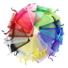 100 pçs 24 cores jóias saco embalagem de jóias display & joias bolsas de presente de casamento organza saco 5*7*9 9*12 10*15cm