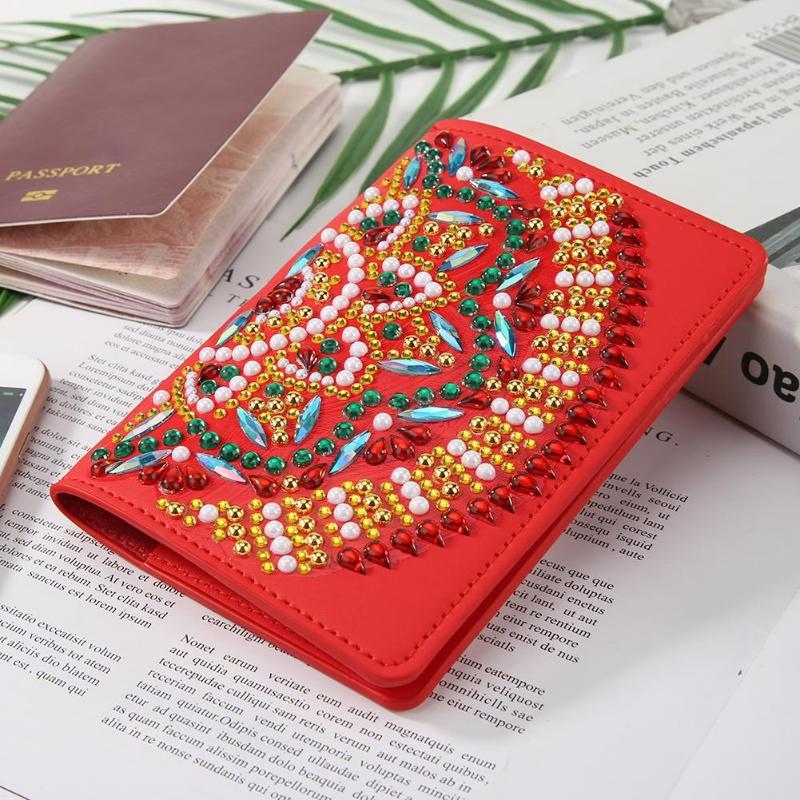 DIY Special Shape Diamond Painting Travel Leather Passport Protection Cover Gift