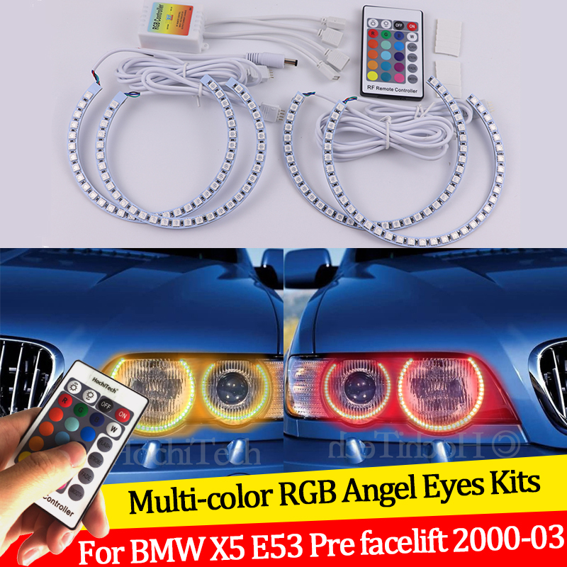 For BMW X5 <font><b>E53</b></font> Pre facelift 2000 <font><b>2001</b></font> 2002 200316 colors RGB Angel Eyes LED Halo Rings RF Wireless Control DRL image
