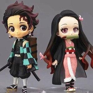 Image 1 - 7cm Anime figurka Demon Slayer: Kimetsu no Yaiba Kamado Tanjirou i Kamado Nezuko Q wersja PVC zabawki modele do kolekcjonowania