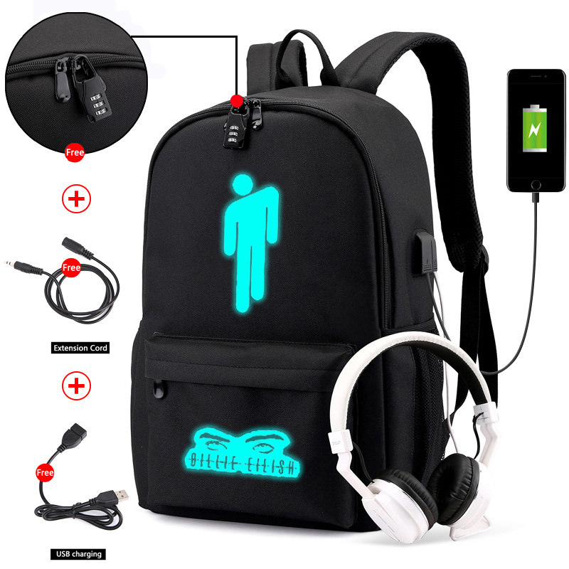 Luminous Billie Eilish Anti-theft Laptop DJ Backpack For Teenager Boys Girls Student School Backpack Men Women Rucksack
