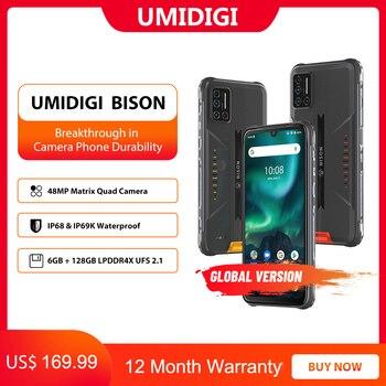 "UMIDIGI BISON IP68/IP69K Waterproof Rugged Phone 48MP Matrix Quad Camera 6.3"" FHD+ Display 6GB+128GB NFC Android 10 Smartphone 1"