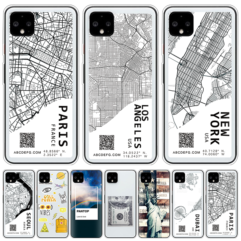 Ins Exclusive City Map Case For Google Pixel 4 3 2 XL TPU Sketch Letter Clear Cover For Google Pixel 3A XL 3XL Soft Coque Fundas