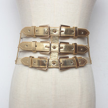 New Fashion Vintage metal Double Clasp Women Belt Buckle PU