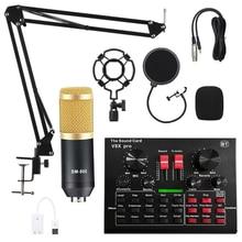 Micrófono BM 800 con tarjeta de sonido V8X Pro, condensador profesional para grabación de Podcast en ordenador