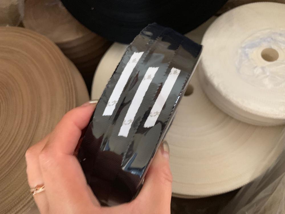 1.2(1.3)cm Width Thicker Black 300yards Soft Cotton Matte Smooth Wavy Border Horizontal Grain Ribbon Ribbon