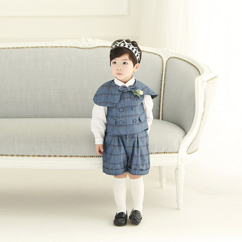 Boy Suits Cotton Baby Boys Suits 2021 Double Breasted vest short Shawl 3pcs Suit sets tuxedo Boy Formal Wedding birthday dress 6