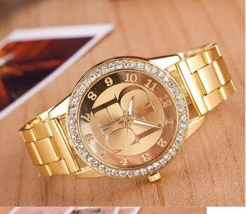 Женские кварцевые часы Zegarek damski, спортивные цифровые часы из нержавеющей стали золотого цвета