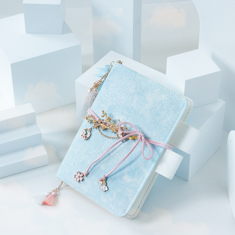 A6 A5 Ins style Original Blue glittering cover material Notebook Unique Pendant Diary Traveler PU leather Journal Gift Bujo 2020