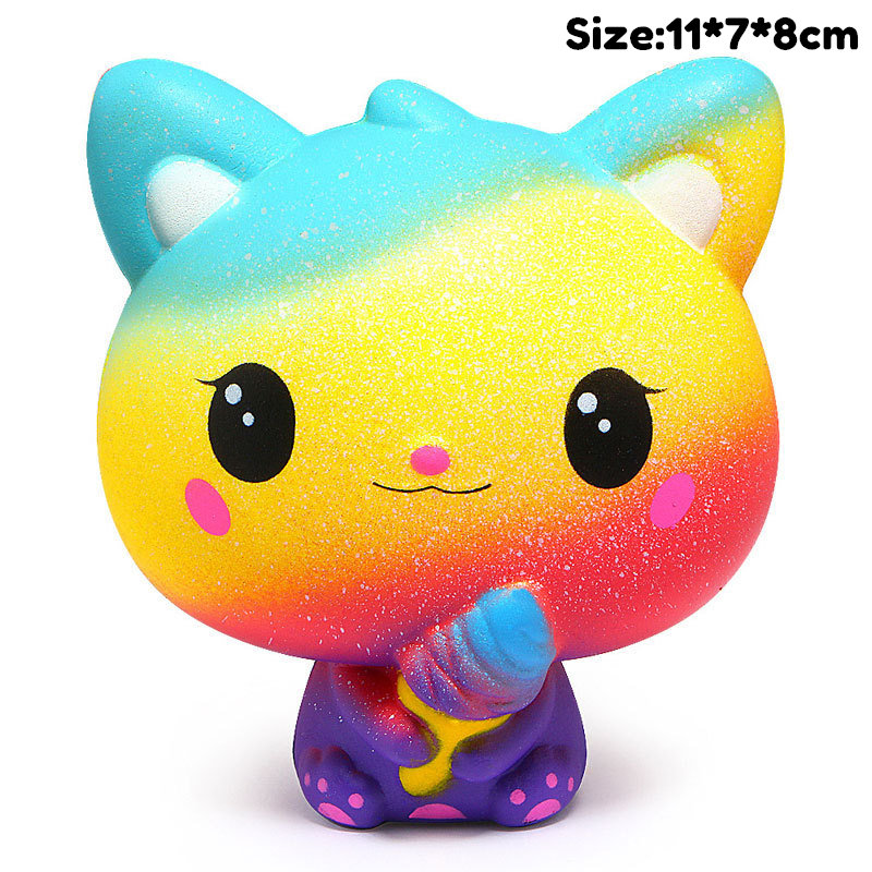 Slow Rising Kawaii Colorful Cat Simulation Animal Squishy Toy Anti Stress Reliever Soft Squeeze Xmas Gift Toys For Children