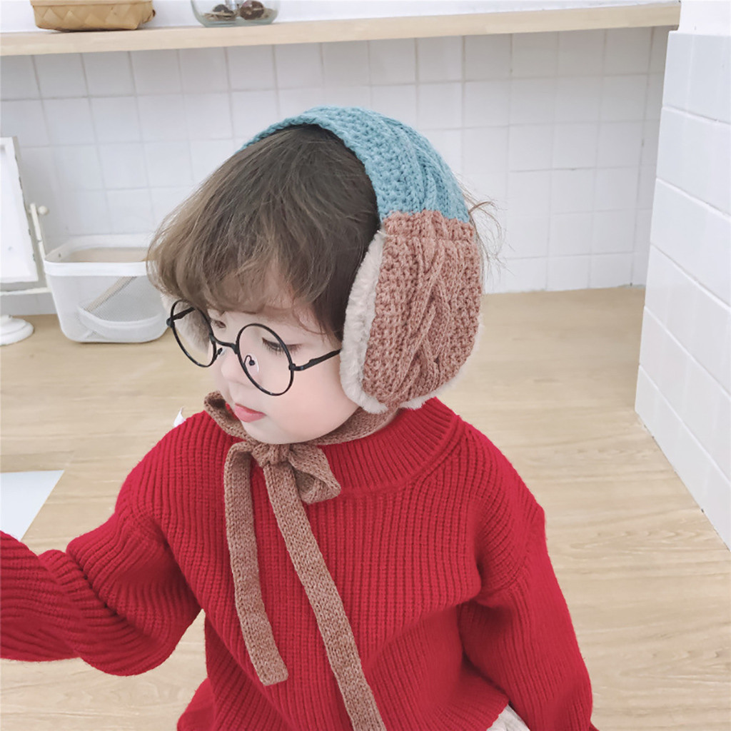 Autumn Winter Child 2 In 1 Scarf Earflap Winter Autumn Warm Plush Ear Muffs Cute INS Fashion Thicken Cover Kid Ears 30H