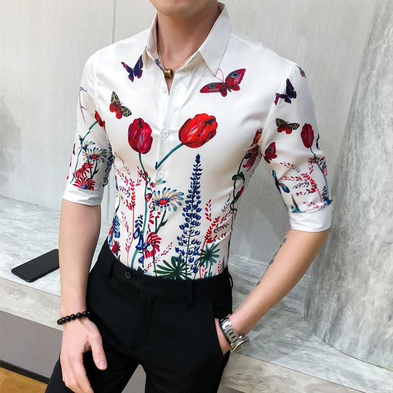 2020 Summer Slim Fit Half Sleeve Tuxedo Shirt Men Top Quality Men Shirt Fashion Print Night Club Social Shirts Mens 3XL-M