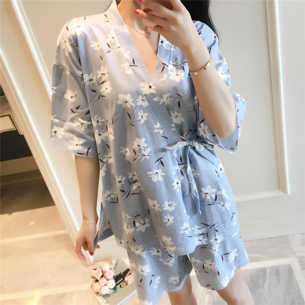 Japanese Style Pajamas Female Summer Qmilch Pajamas Two-Piece Set Short Sleeve Shorts Bathrobe And Wind Home Wear