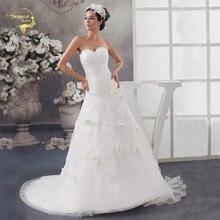 2016 Белый Louisvuigon vestido де noiva халат Mariage свадебные свадебный цветок линии аппликация свадебные платья милая уя 9509