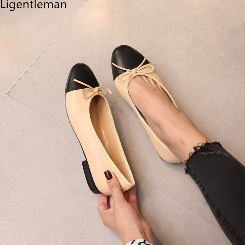 Single Shoes Woman Two Color Splicing Classic Bow Tie Ballet Shoes Shallow Round Head Large Size Low Heeled Womens Shoes Pump