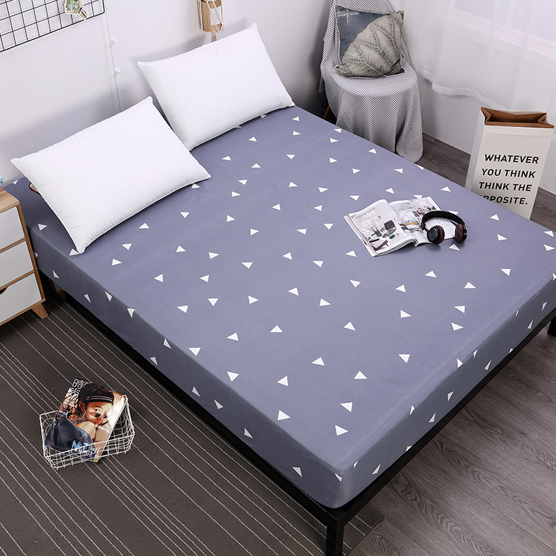 MECEROCK New Printed Waterproof Mattress Cover with Elastic Band Bedroom Bed Protection Pad Fitted Sheet 160x200cm