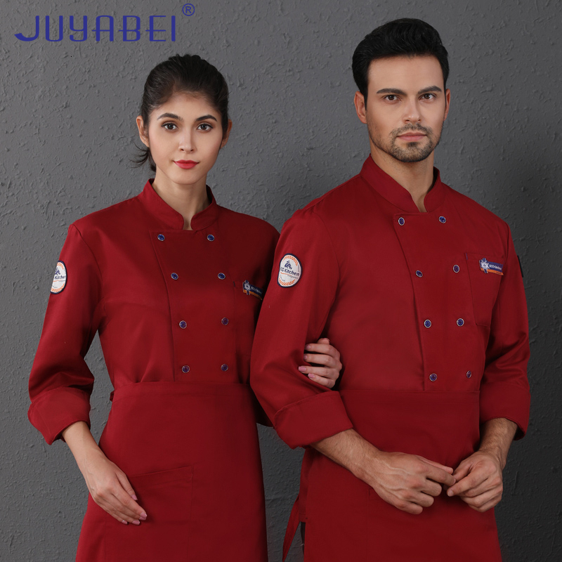 Unisex Double Breasted Chef Uniform Autumn Kitchen Cooking Jacket Cafe Baking Shop Pizza Hairdressers Salon Waiter Work Shirt