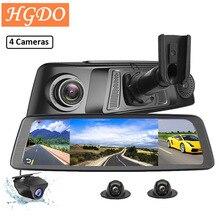"2020 HGDO 10 ""4G רכב DVR 2 + 32GB 4 ערוץ מבט אחורי מראה מצלמה וידאו מקליט ADAS GPS אוטומטי רשם רדאר DetectionDash מצלמת"