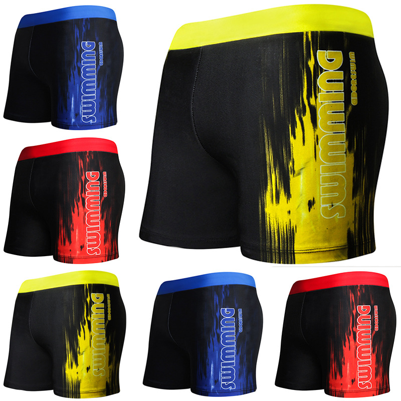Plus-sized MEN'S Swimming Trunks Korean-style Slim Fit Comfortable Boxer Sand Swimming Quick-Dry-Style Printed Shorts