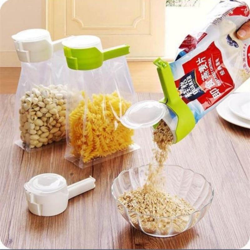 Bag Clip Seal Pour Food Storage Bag Clip Snack Sealing Clip Fresh Keeping Sealer Plastic Helper Food Saver Travel Kitchen Gadget