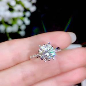 Image 1 - Moissanite 성격 디자인 새로운 반지, 925 순은, 아름다운 색깔, 번쩍이는, 1 캐럿 2 캐럿 다이아몬드 d vvs1