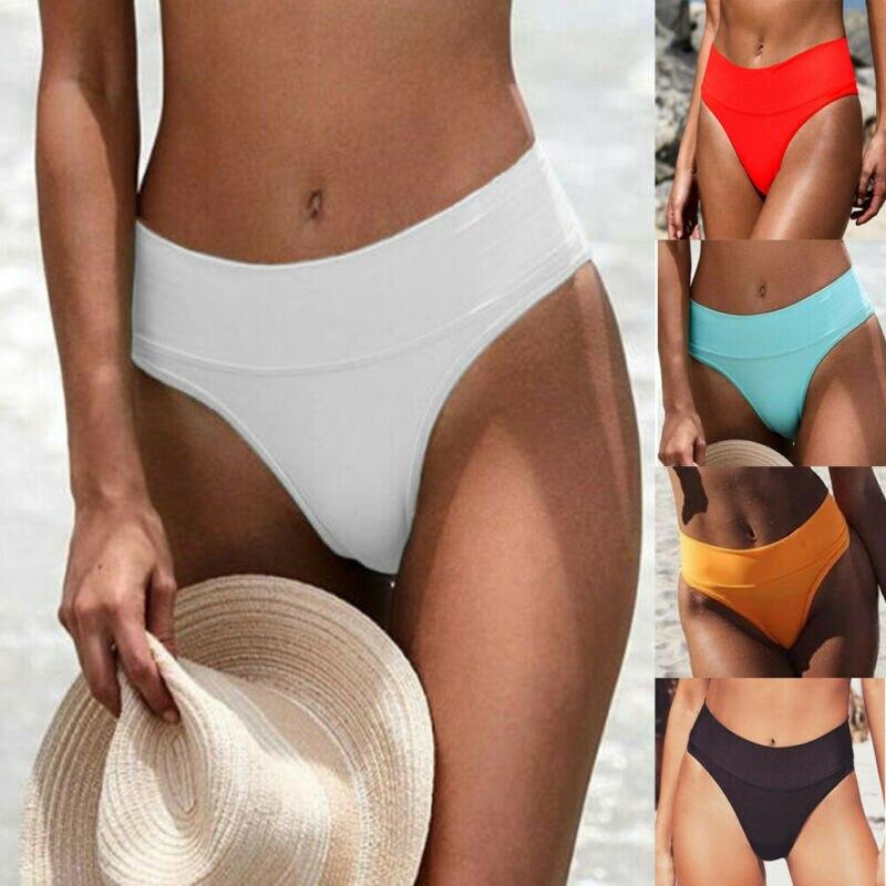 Women Bikini Thong Bottom V Cheeky Slim Fit Swimwear High Waist Bikini Bottom