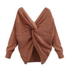 Fashion Solid Color Women V Neck Back Twisted Sweater Long Sleeve Knitted Sweaters Pullovers Tops #E