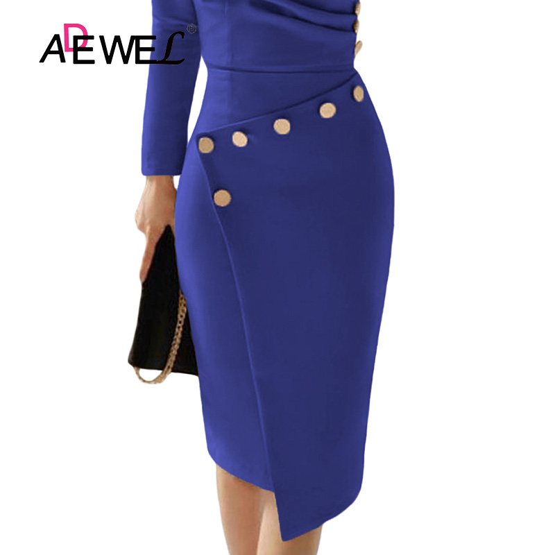 ADEWEL Button Detail White Ruched Bodycon Office Work Dress Women Long Sleeve V-Neck Party Midi Gown Dress 16