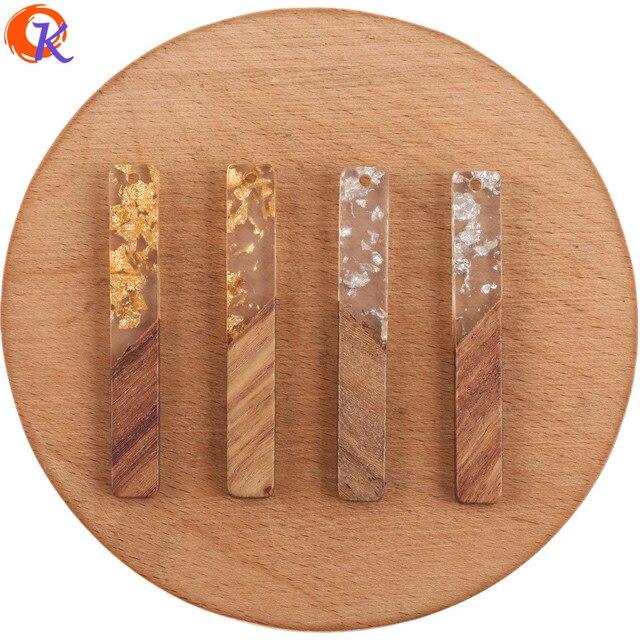 Cordial Design 50 sztuk 8*52MM kolczyki DIY Making/biżuteria akcesoria/kij kształt/naturalne drewno i żywica/Hand Made/kolczyki ustalenia