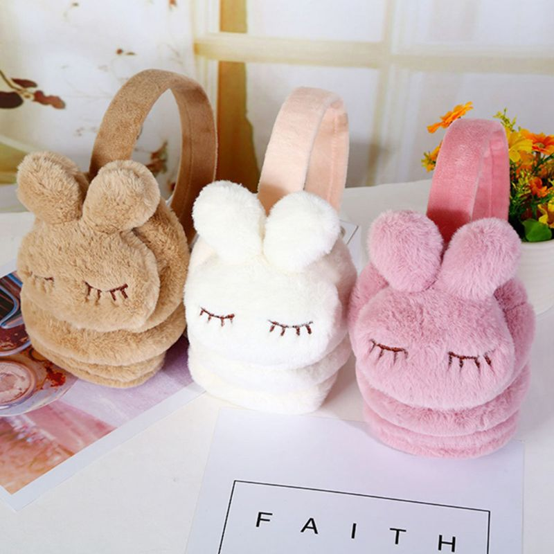 Kids Boys Girls Winter Warm Earmuffs Thicken Plush Cute 3D Cartoon Rabbit Children Outdoor Ski Sport Ear Cover Warmers Headband