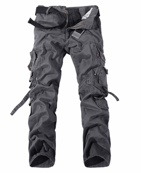 2019 New Men Cargo Pants army green big pockets decoration mens Casual trousers easy wash male autumn army pants plus size 42 - 28, Grey