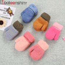 BalleenShiny/Детские вязаные перчатки для мальчиков и девочек, однотонные плотные пушистые перчатки, теплые варежки для малышей, зимние аксессуары