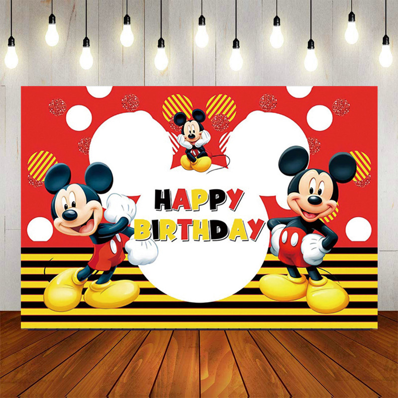 120*80cm Red Mickey Blackground Birthday Decoration Flag Mickey Mouse Theme Party Supplies Paper Cup Plate Party Kids Toy Ballon