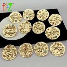 F.J4Z Hot 12 Horoscope Brooches Vintage Alloy Sign of Zodiacs Costume Pins For Men Women Lovers Jewelry Gifts Dropship