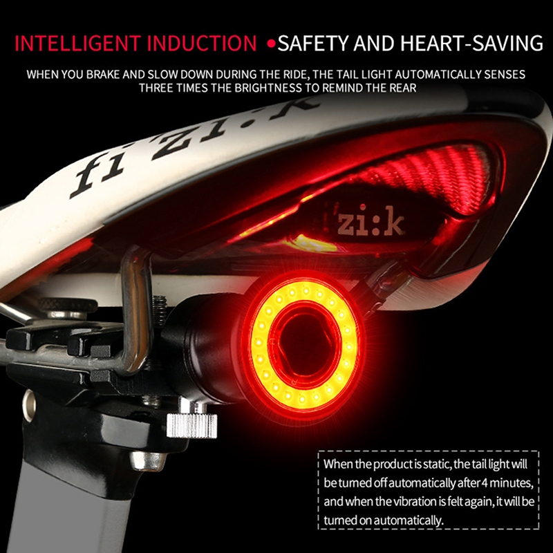 Smart Bike Tail Light Bright Bike Light USB Rechargeable Bicycle Lights Rear Accessories for Road Bikes